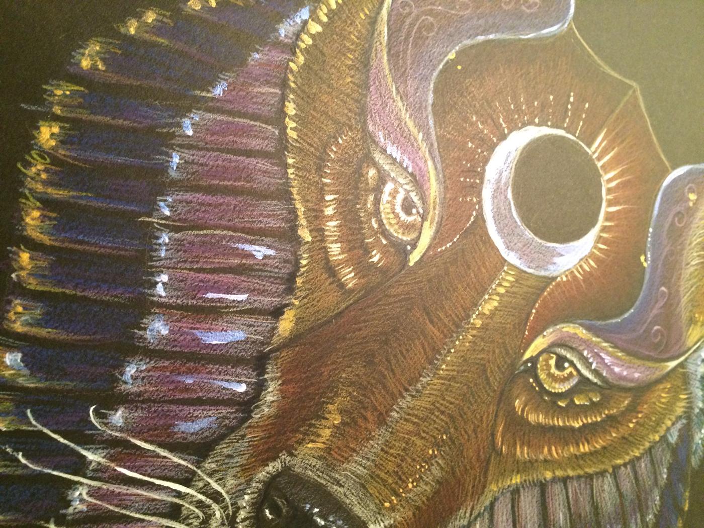 Close up of Wolf Totem by Jennifer Hawkyard