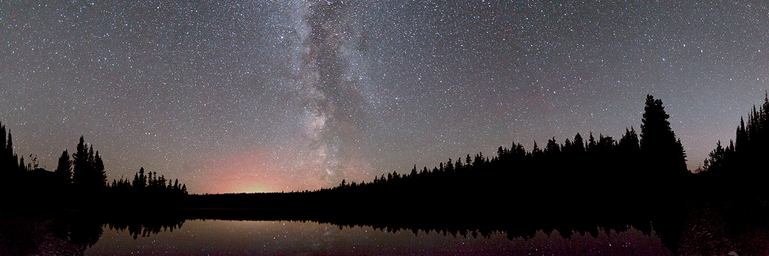 Onion Lake Milky Way panorama.
