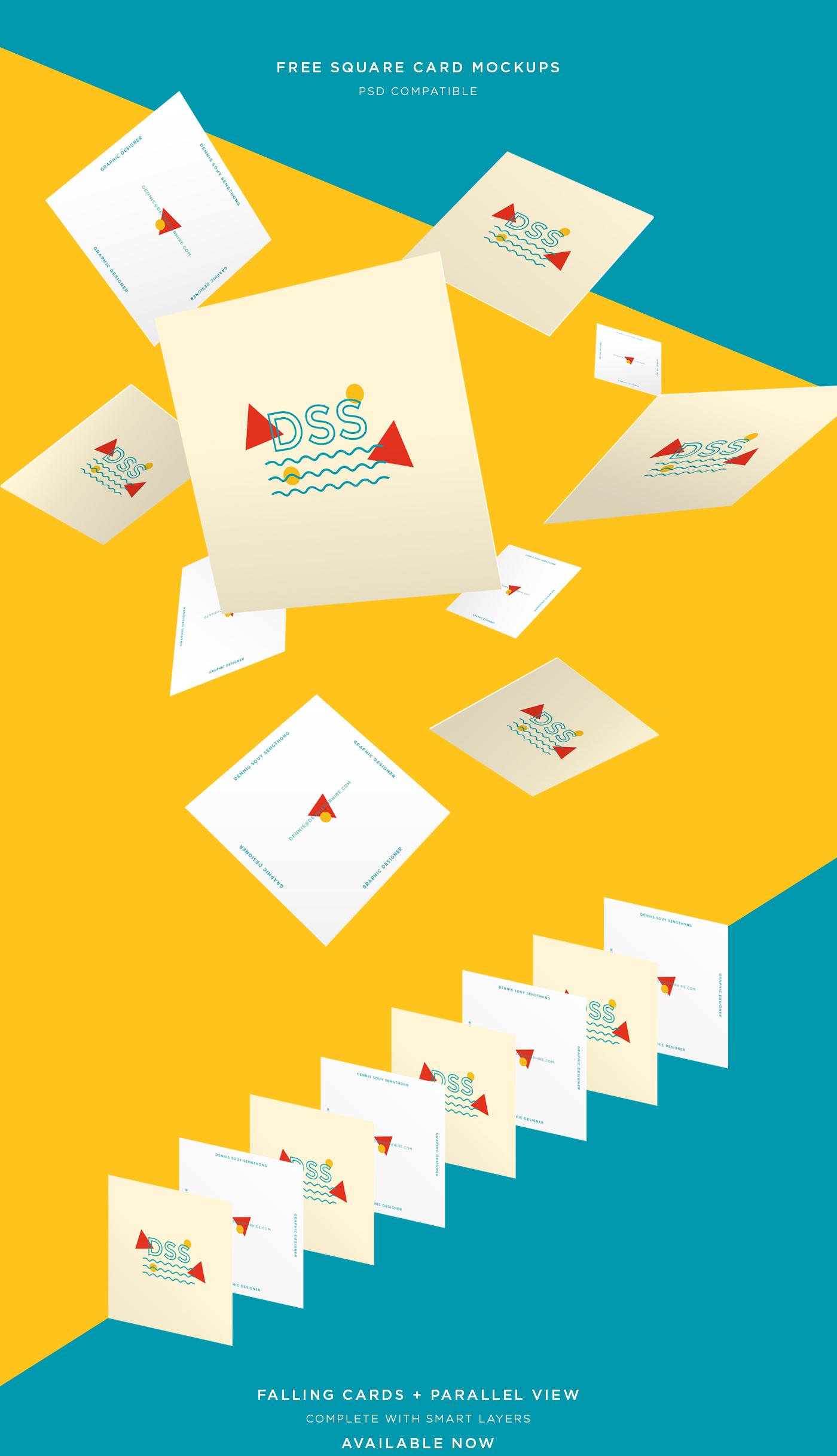 Free Square Card Mockups on Behance