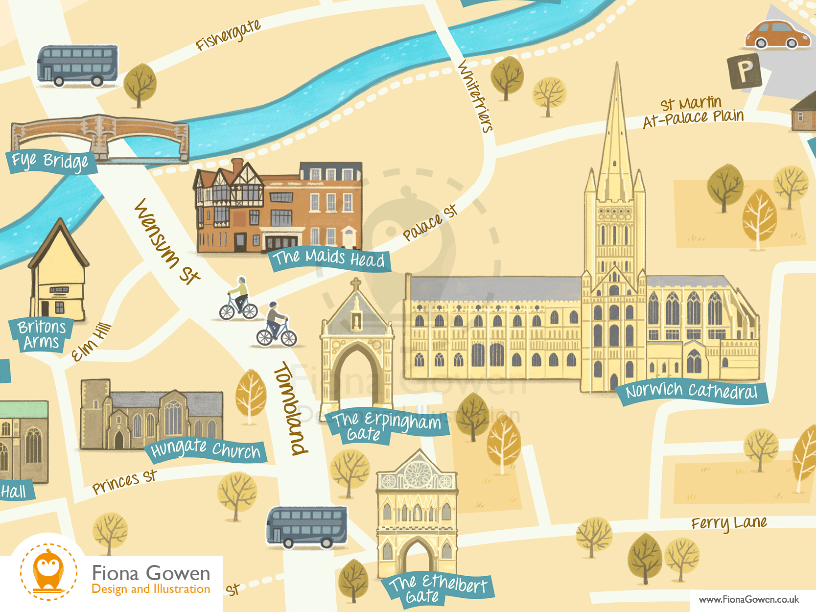 Crop of Norwich Cathedral Quarter Illustrated map. Showing key buildings such as the Maids Head Hotel, Norwich Cathedral, The Britons Arms and Fye Bridge