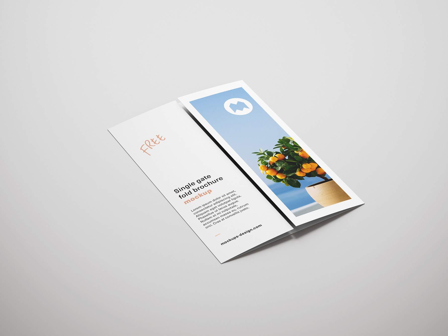 Free single gate fold brochure mockup on Behance