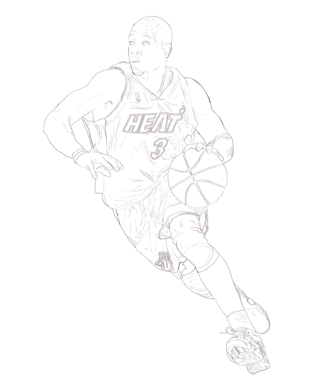 Dywane wade free coloring pages for Miami heat coloring page