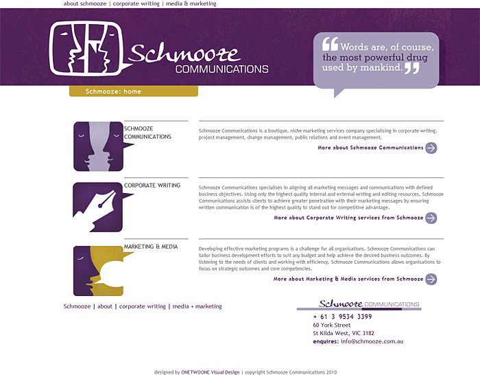 Schmooze Communications Homepage