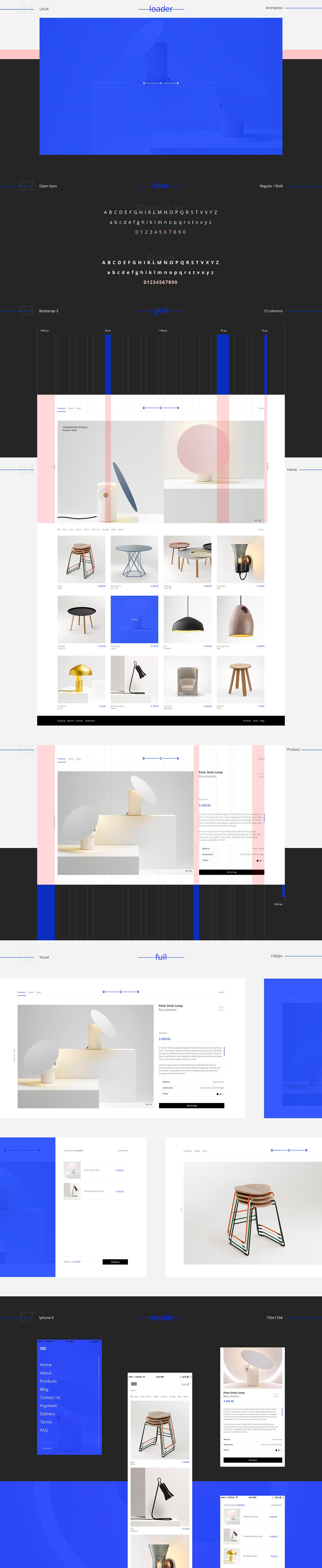 D c r ui ux design for Design shop online