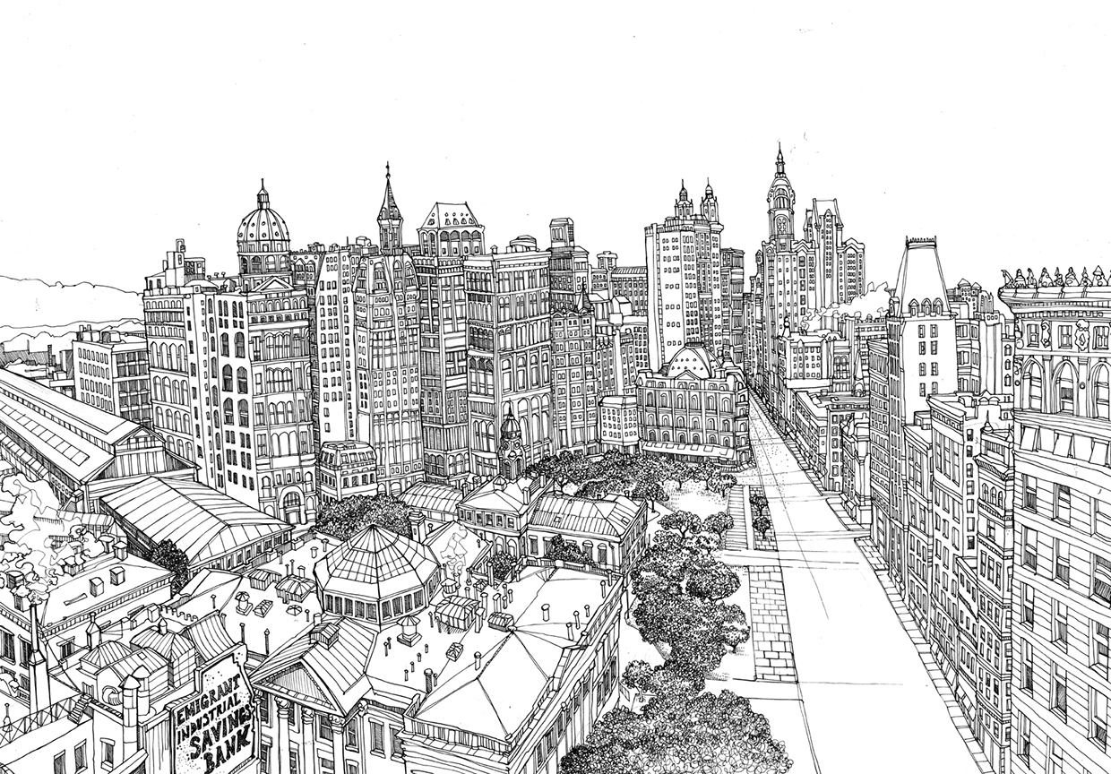 Line Drawing City : Drawings of city streets images