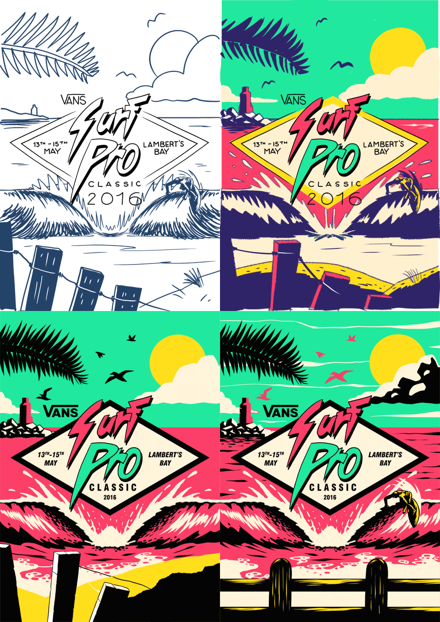 Vans to create a logo, poster, and various other artwork for their Surf Pro Classic 2016. I drew inspiration from late 80s and 90s surf artwork,