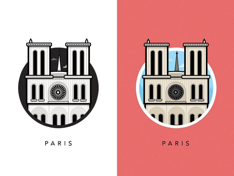 Famous Landmarks - cathédrale notre dame de paris - - Paris - France - illustrations de monuments célèbres européens par Al Power - Studio Karma - Graphiste Freelance
