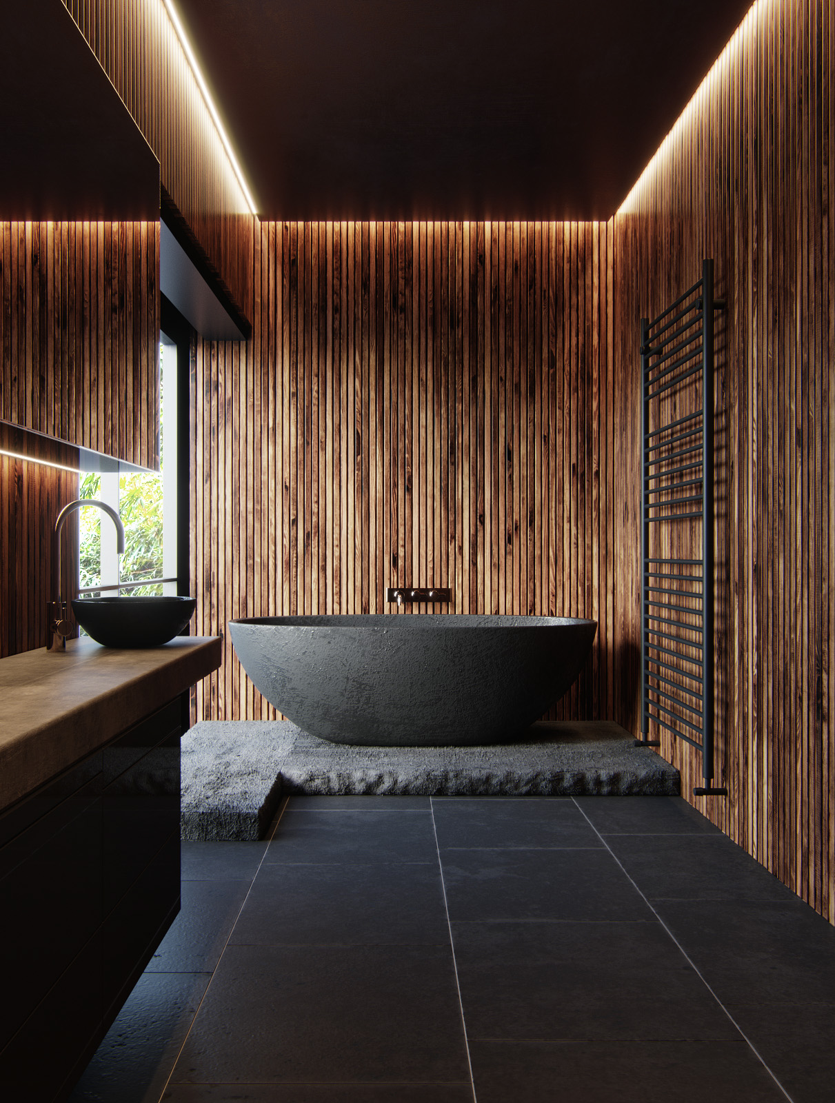 The Teak Tub Deck And Black Tile Walls Are Amazing Together.