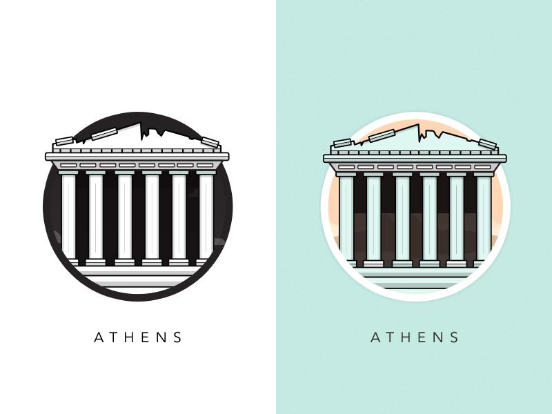 Famous Landmarks - Athènes - illustrations de monuments célèbres européens par Al Power - Article inspiration Illustration - Studio Karma - Graphiste Freelance
