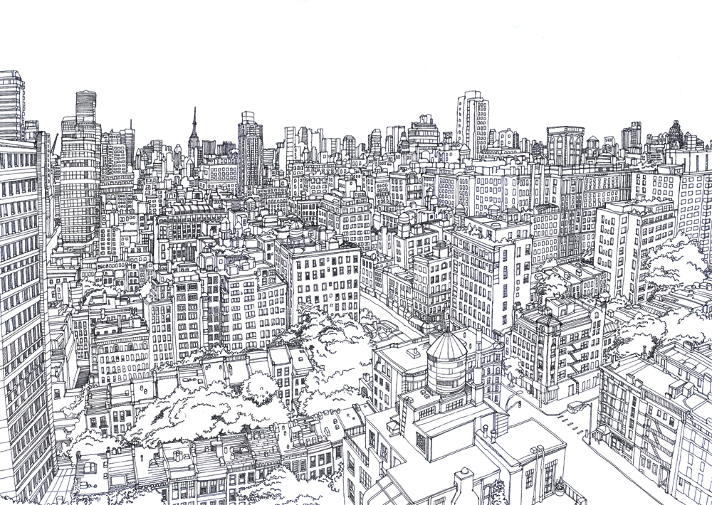 Line Draw 2 Line Drawing of Upper East