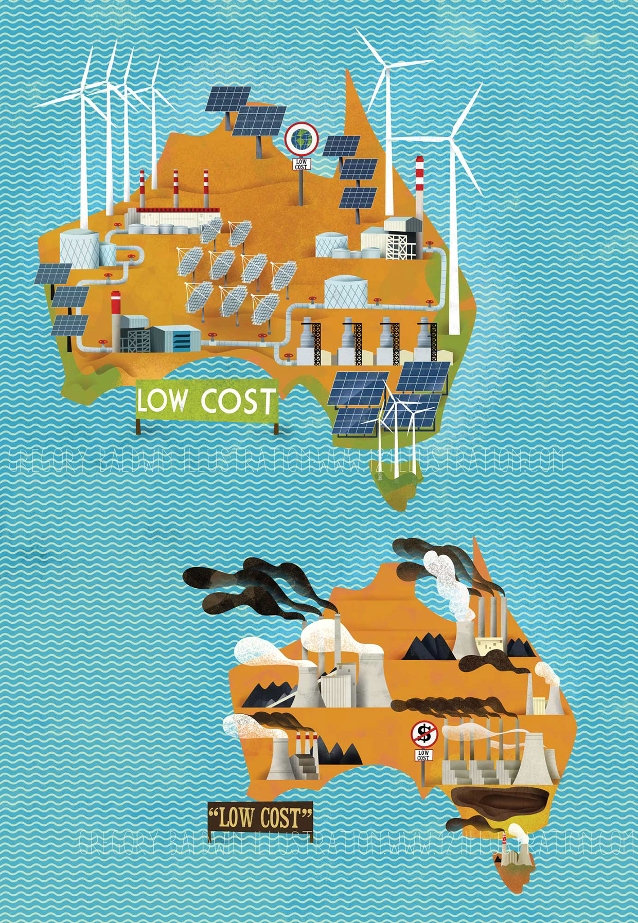 Australian Map Illustration Carbon vs Price