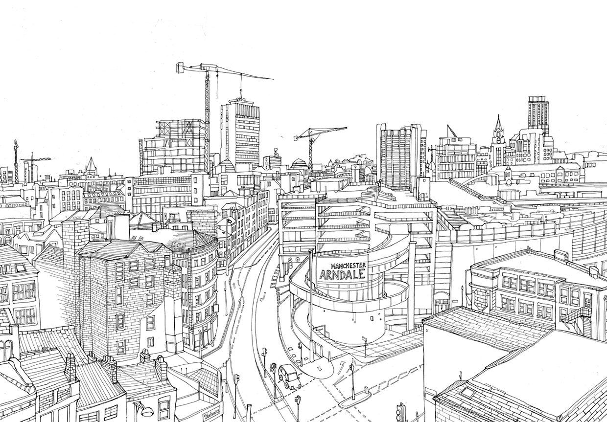 Pen And Ink Line Drawing Of Manchester City Centre Images