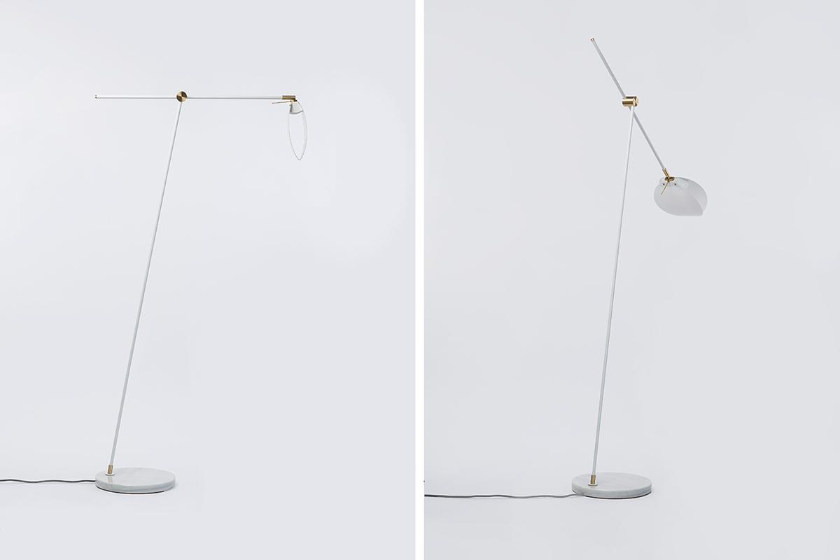Lamp floor lamp minimal design LED Light Marble brass White