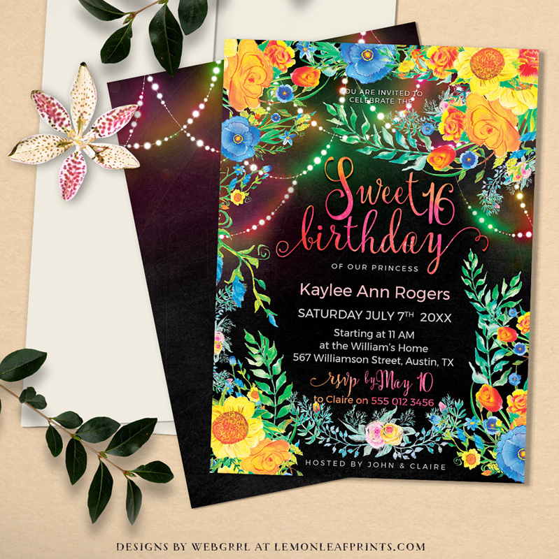 colorful floral invitations on behance