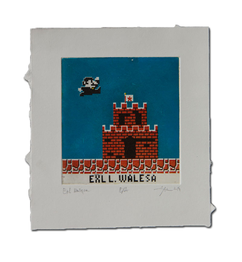 Wałęsa akwatinta art print communism Ex Libris grafika warsztatowa hand-printed komunizm Mario Bros printmaking