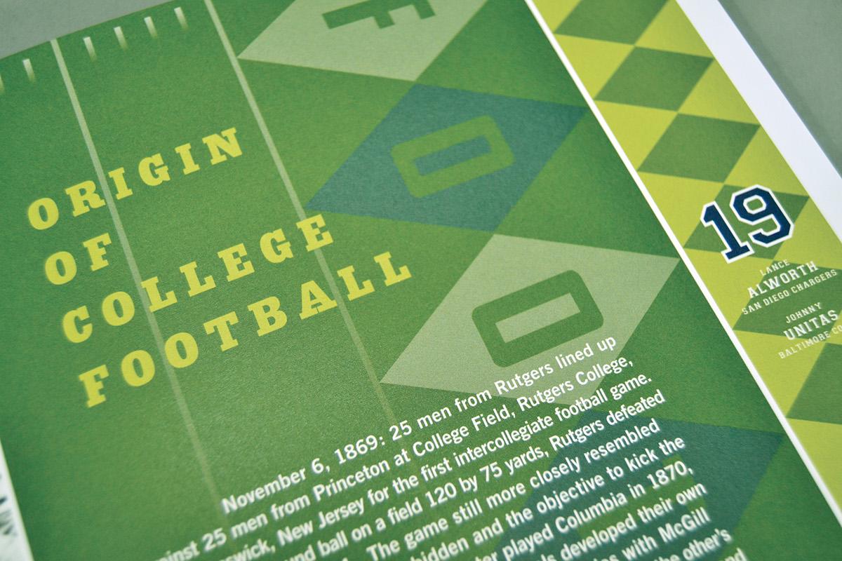 football catalog history book design