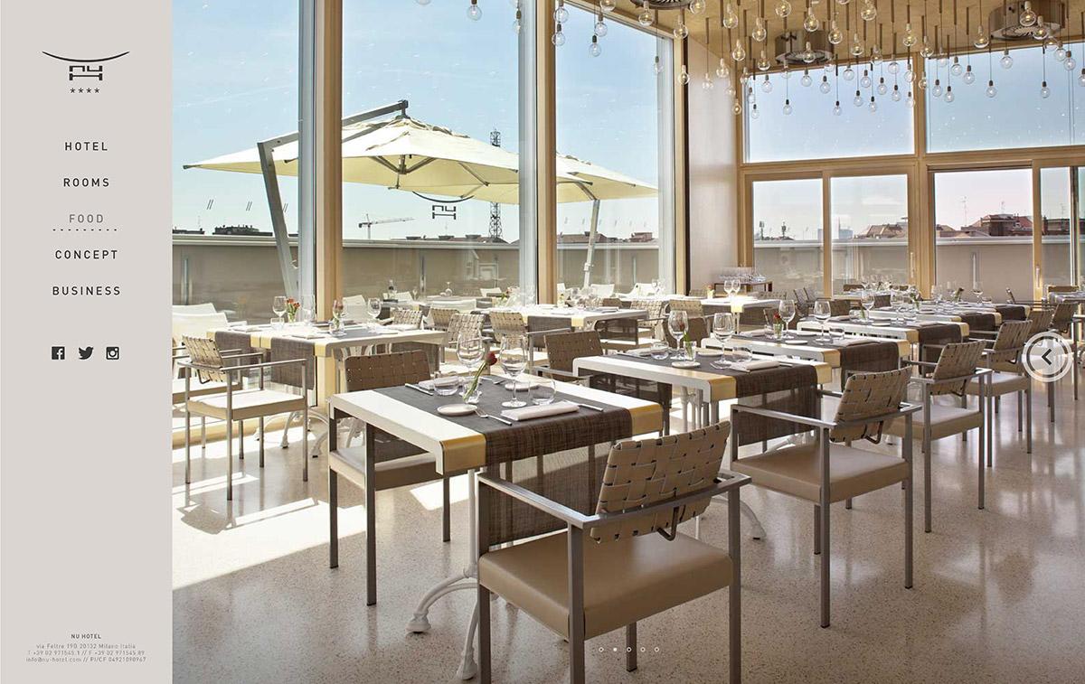 ui design Web Design  hotel luxury restaurant tangram milan Website mobile