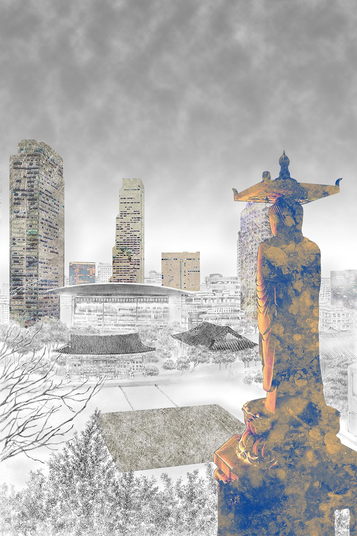 Bongeunsa digital illustration ILLUSTRATION  seoul