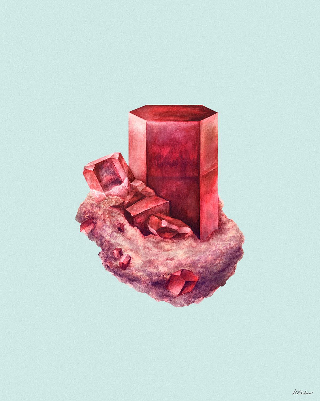 poster print mineral crystal watercolor quartz stone Magic