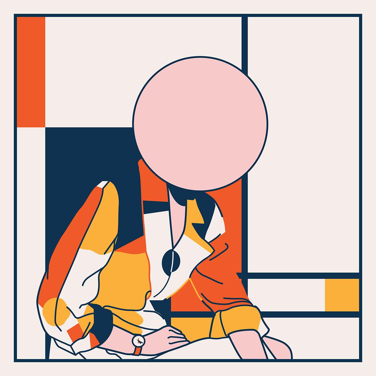 portrait Landscape abstract vector blue orange