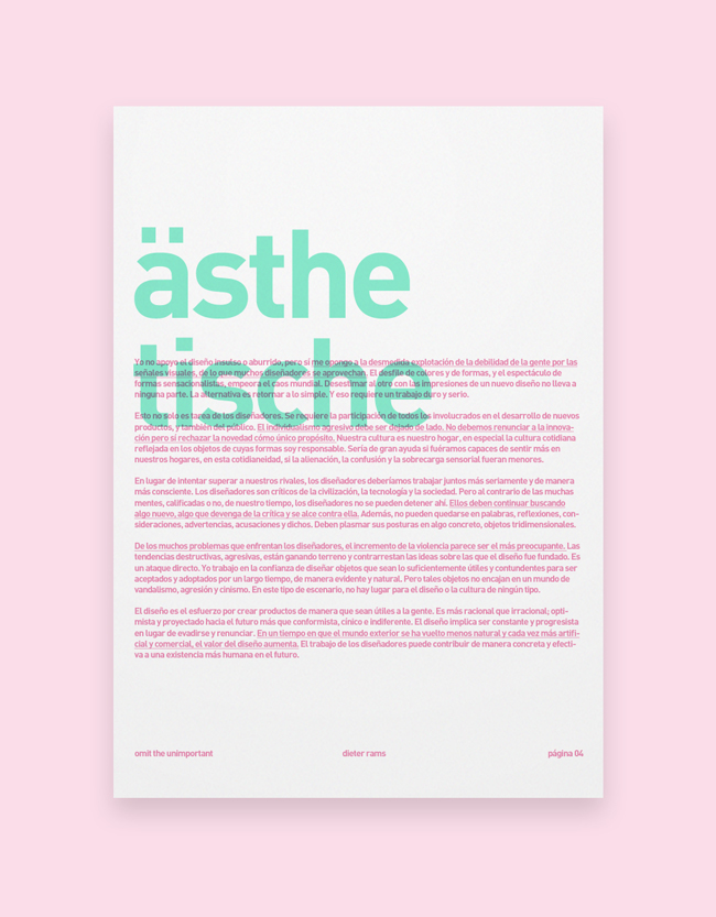omit the unimportant,español,traducido,Dieter Rams,functionalism,text,printed,inspiration,poster,Layout,composition,concept,castellano,clean,White