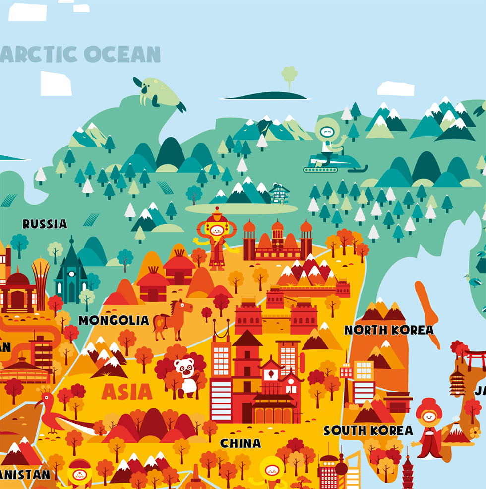 World map on behance i made this illustrated world map for smart art education based in new zealand it will go to local schools and is available for sale on their website gumiabroncs Gallery