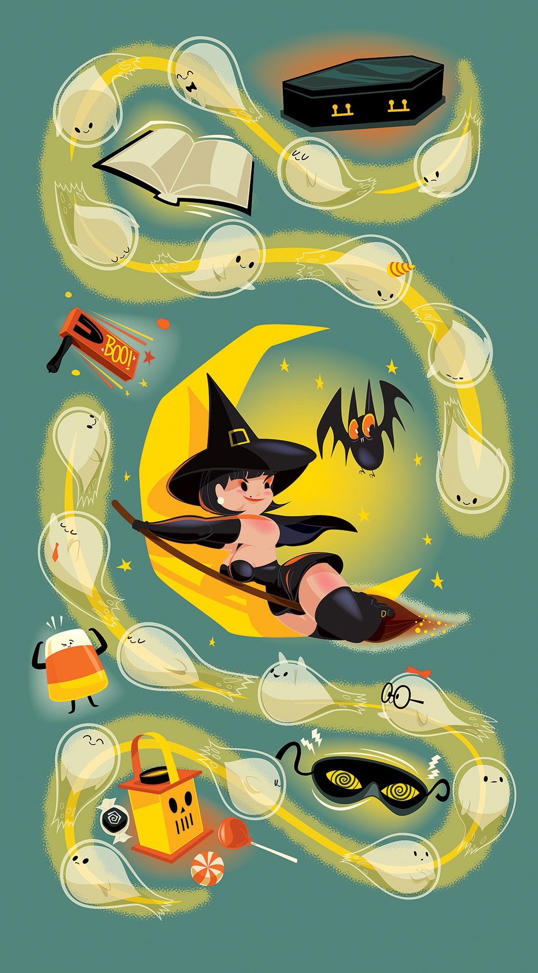 Halloween pin-up trick or treat