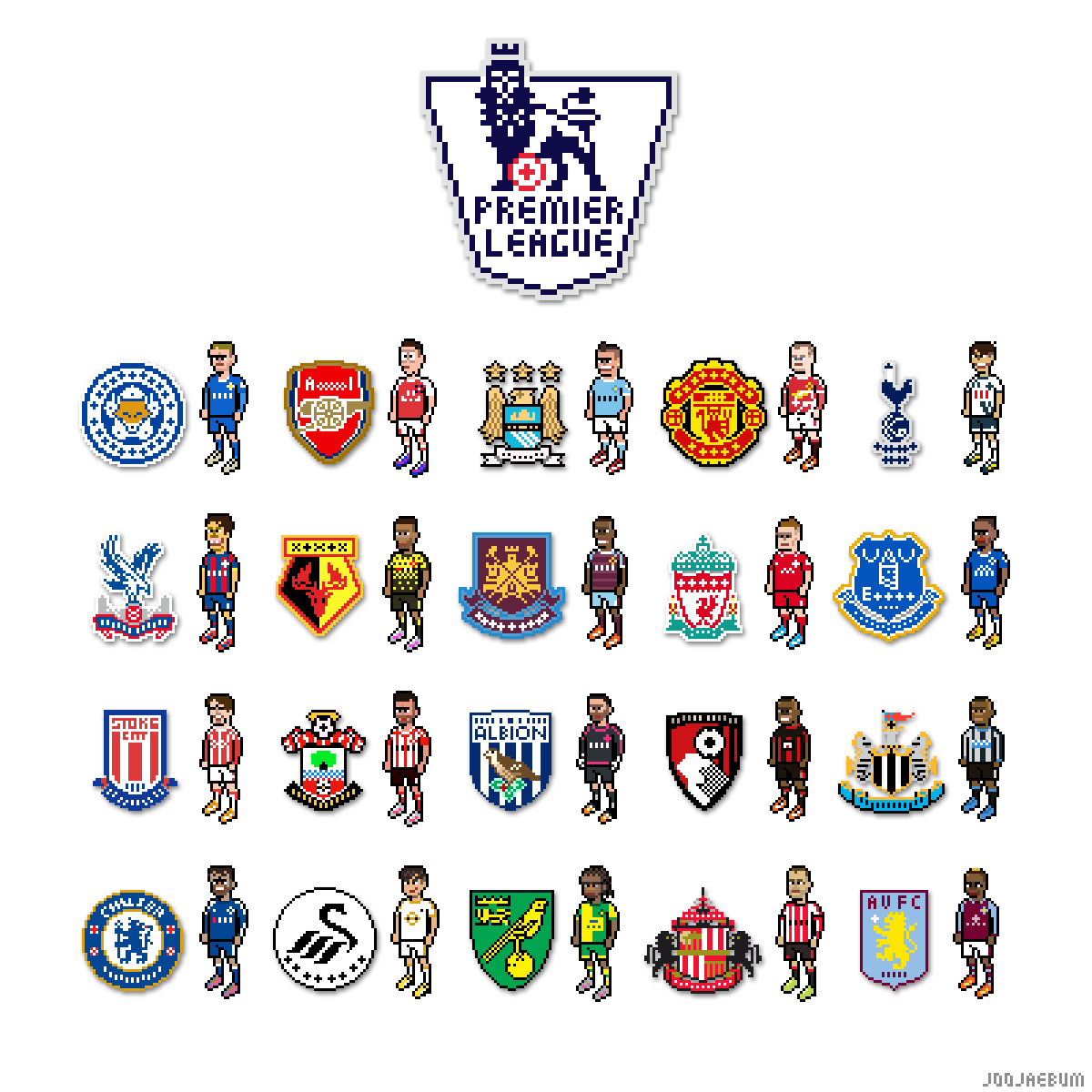 Barclays Premier League Pixel Art On Behance