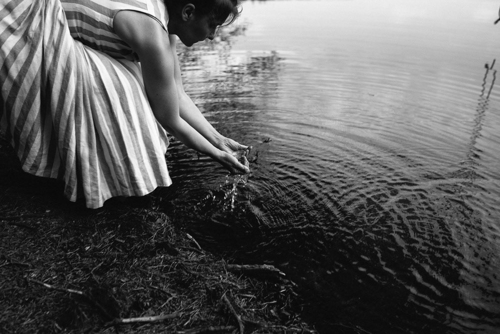 blackandwhite forest lake poland portrait summer woman