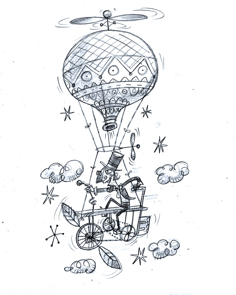 balloon chicken Character illustrated vintage Retro flying machine cycle mechanical hand drawn type SKY paints STEAMPUNK hot air balloon Bike