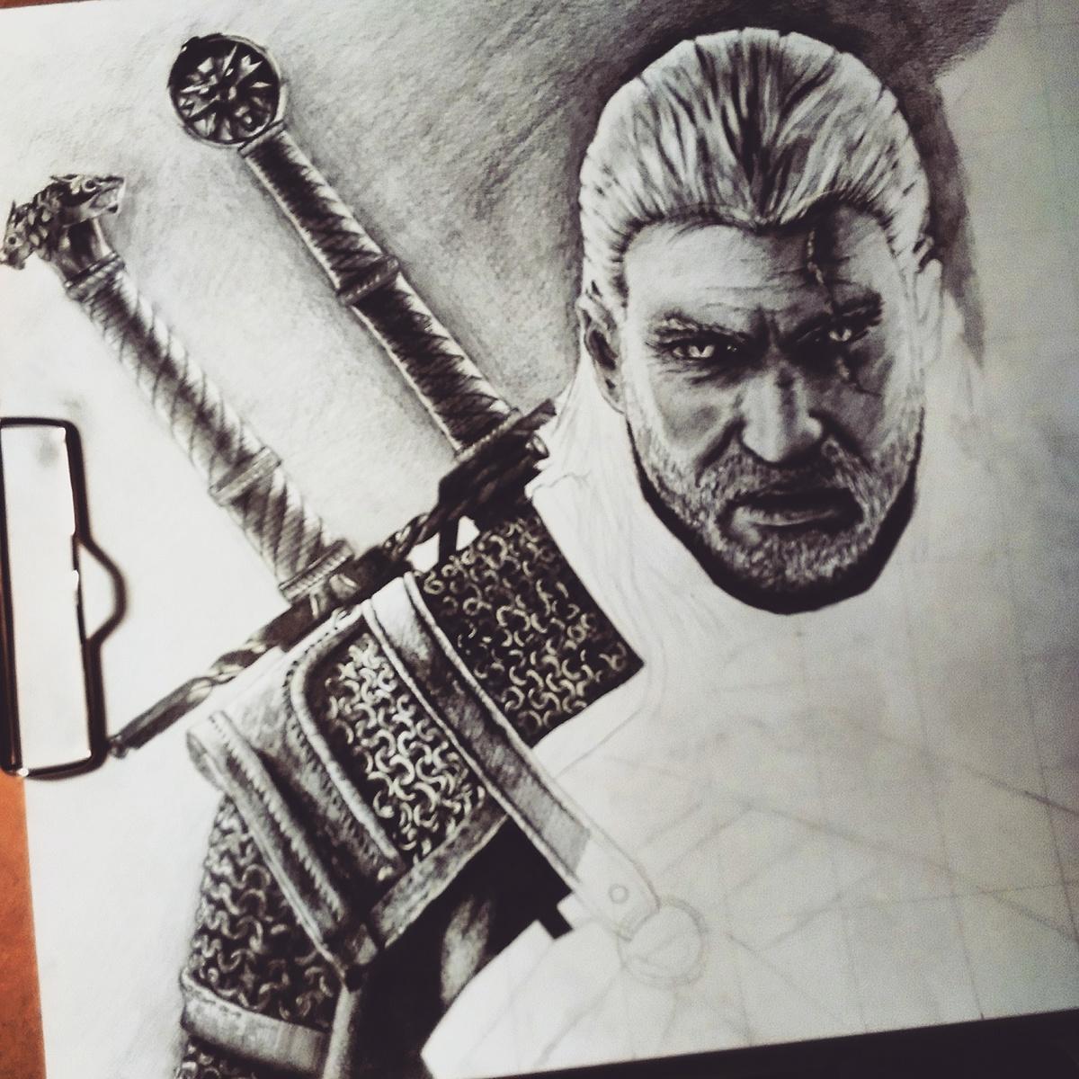geralt witcher witcher3 WildHunt Hunt wiedzmin wiedzmin3 dzikigon sapkowski art masterpiece pencildrawing pencil poland sketch