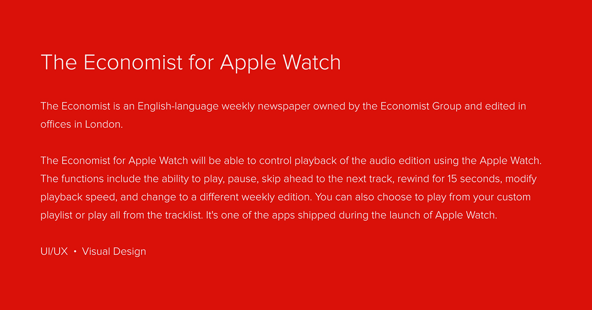 The Economist for Apple Watch on Behance