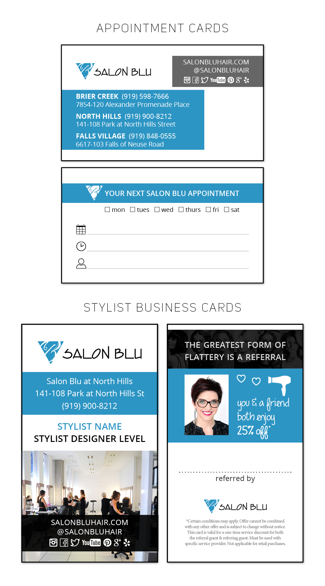 Salon Blu // Appointment & Business Referral Cards on Behance