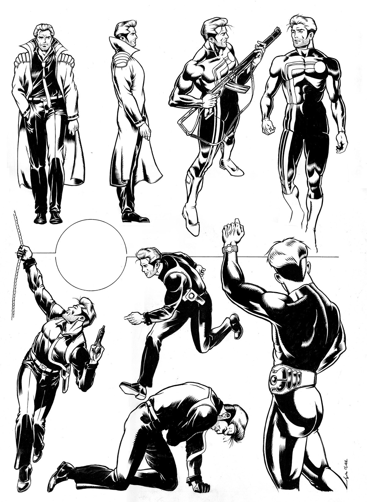 comic Character design  Poses indian ink