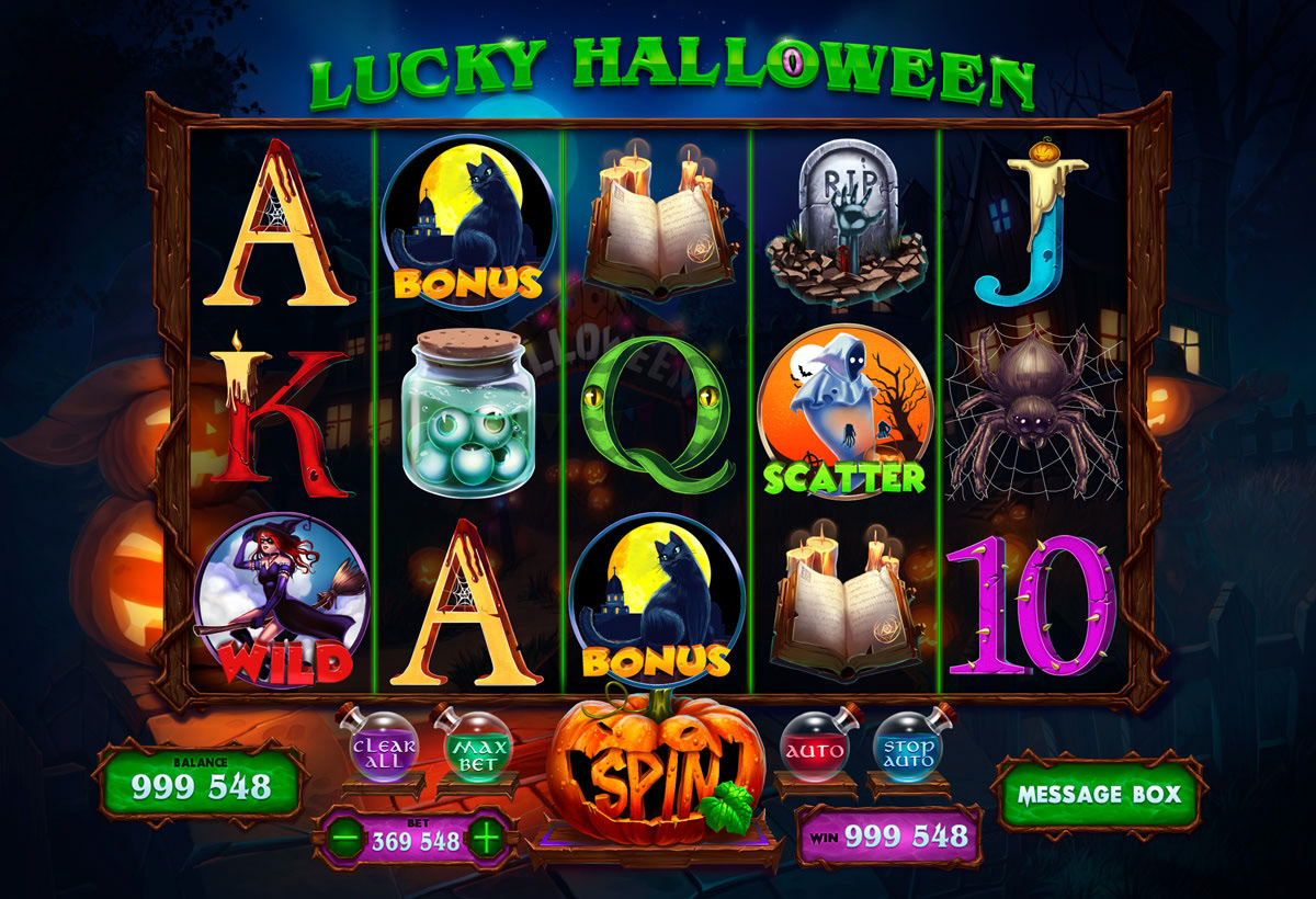 """Online slot machine for SALE - """"Lucky Halloween"""" on Behance"""