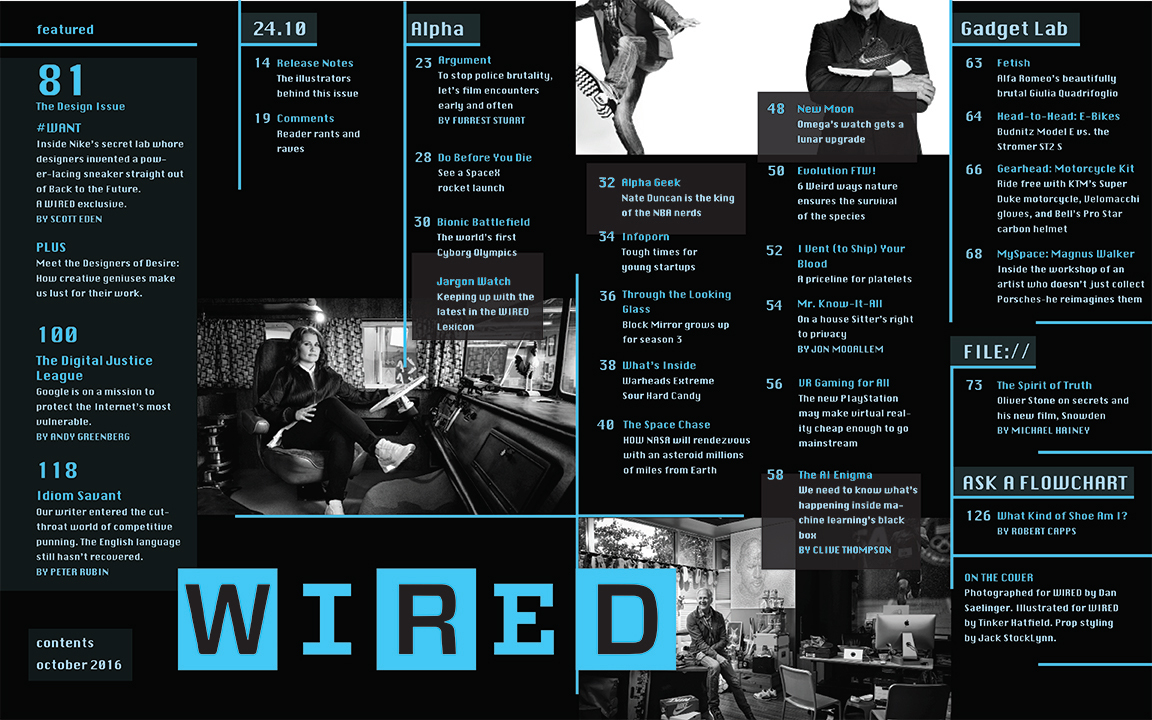 Wired Magazine Table of Contents on Behance