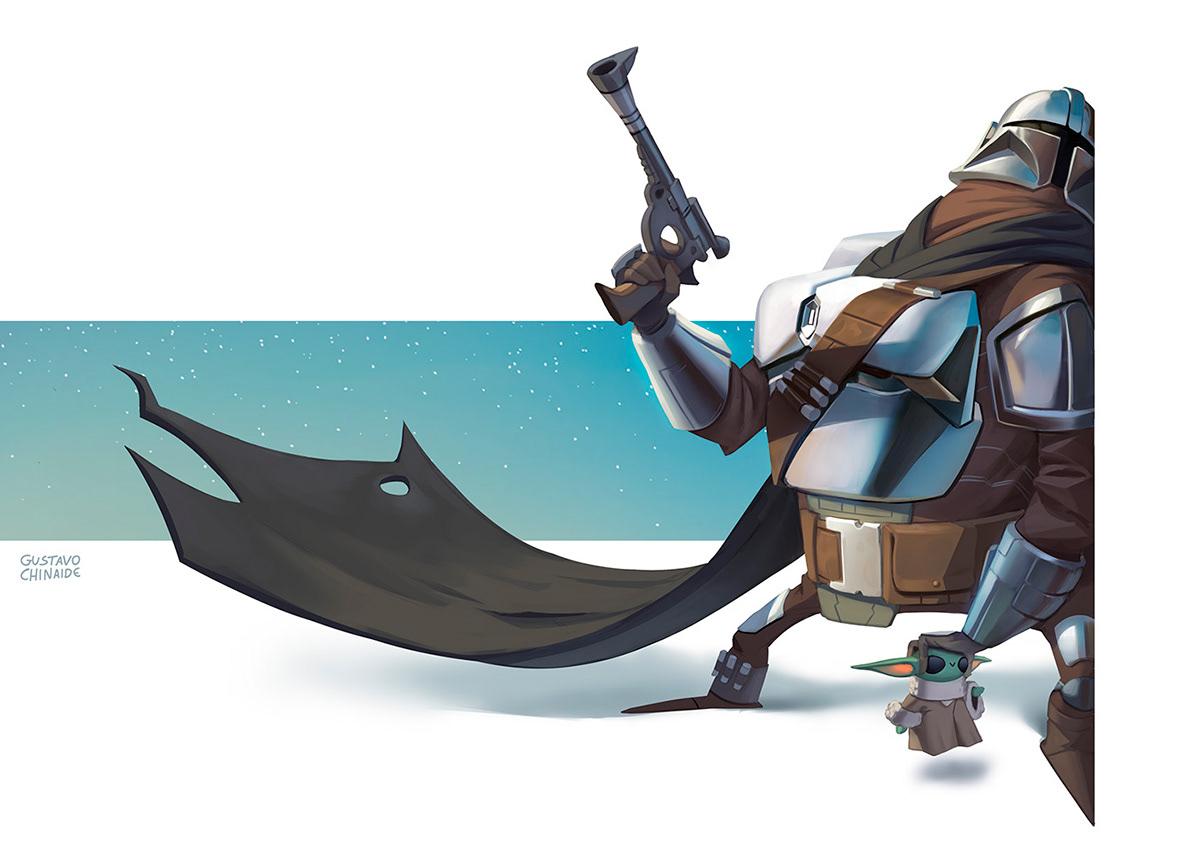 Character design  Fan Art Grinch hades ILLUSTRATION  mandalorian sketch