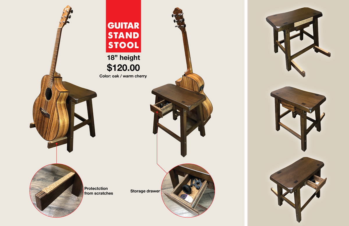 Groovy Guitar Stand Stool On Behance Ocoug Best Dining Table And Chair Ideas Images Ocougorg