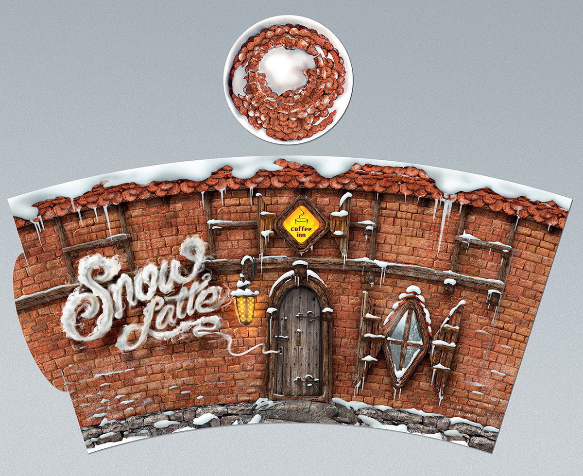 Coffee winter painting   snow forest vilnius lithuania smoke typography   3d typo lettering Script