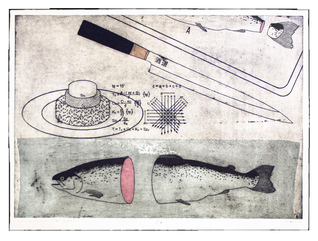 Machowski macha Improvisation for Grazynka graphic Workshop intaglio