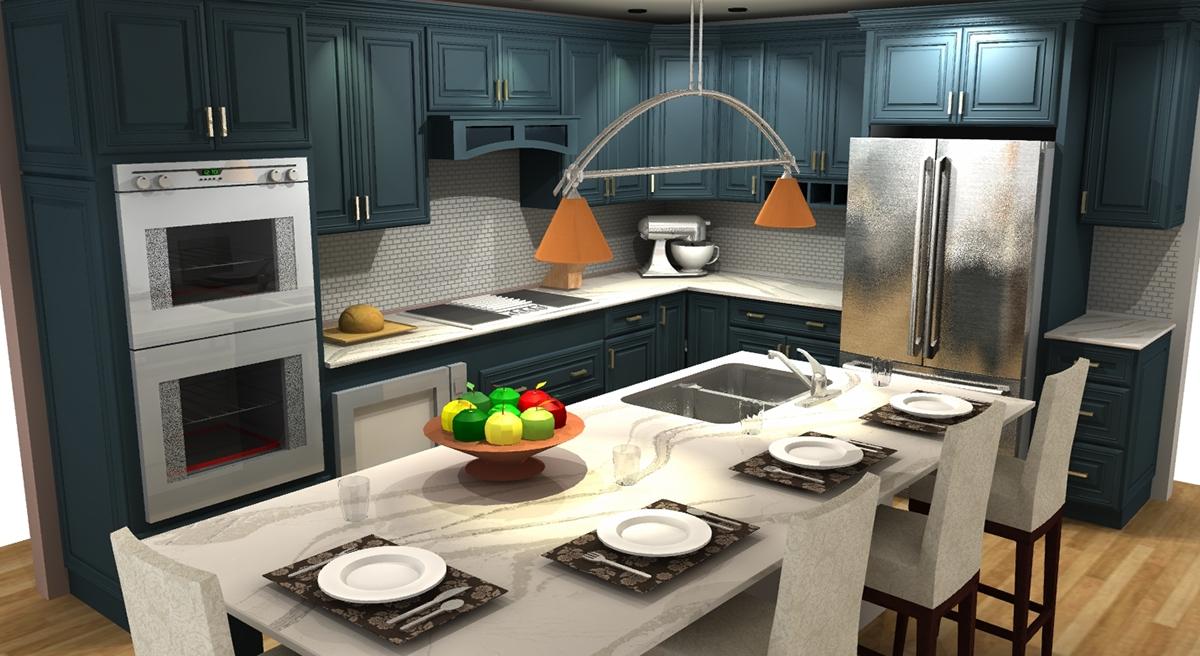 Transitional Kitchen Design Color Pop interior design