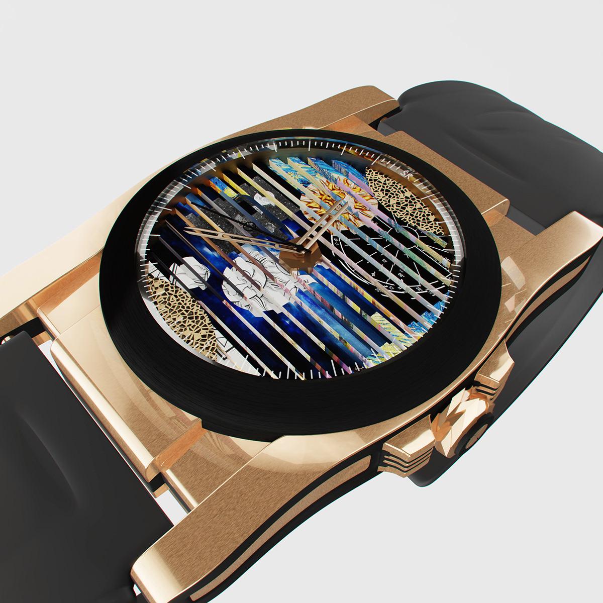 clock design swiss krasowski clock face Roll industrial design  luxury product Watches watches design