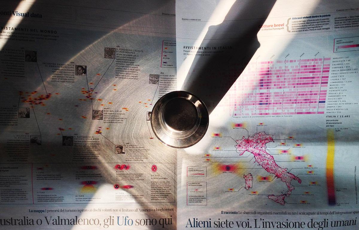 UFO alien information visualization infographic datavis map timeline flying saucer geolocation