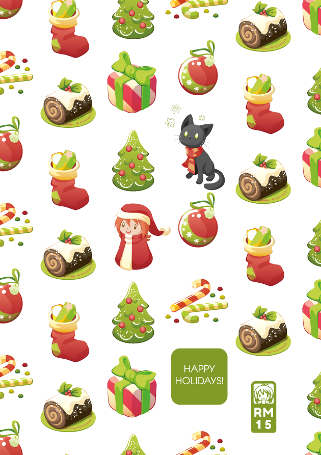 Christmas postcard gift wrap Tree  christmas Tree Presents Sweets Candy Cane Christmas Decoration munchkin Cat kyo stocking