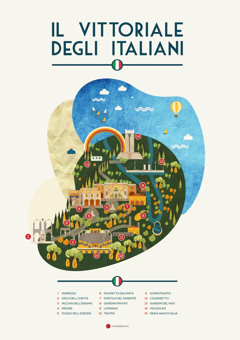 infographic map  garda lake Vittoriale Gardone D'Annunzio