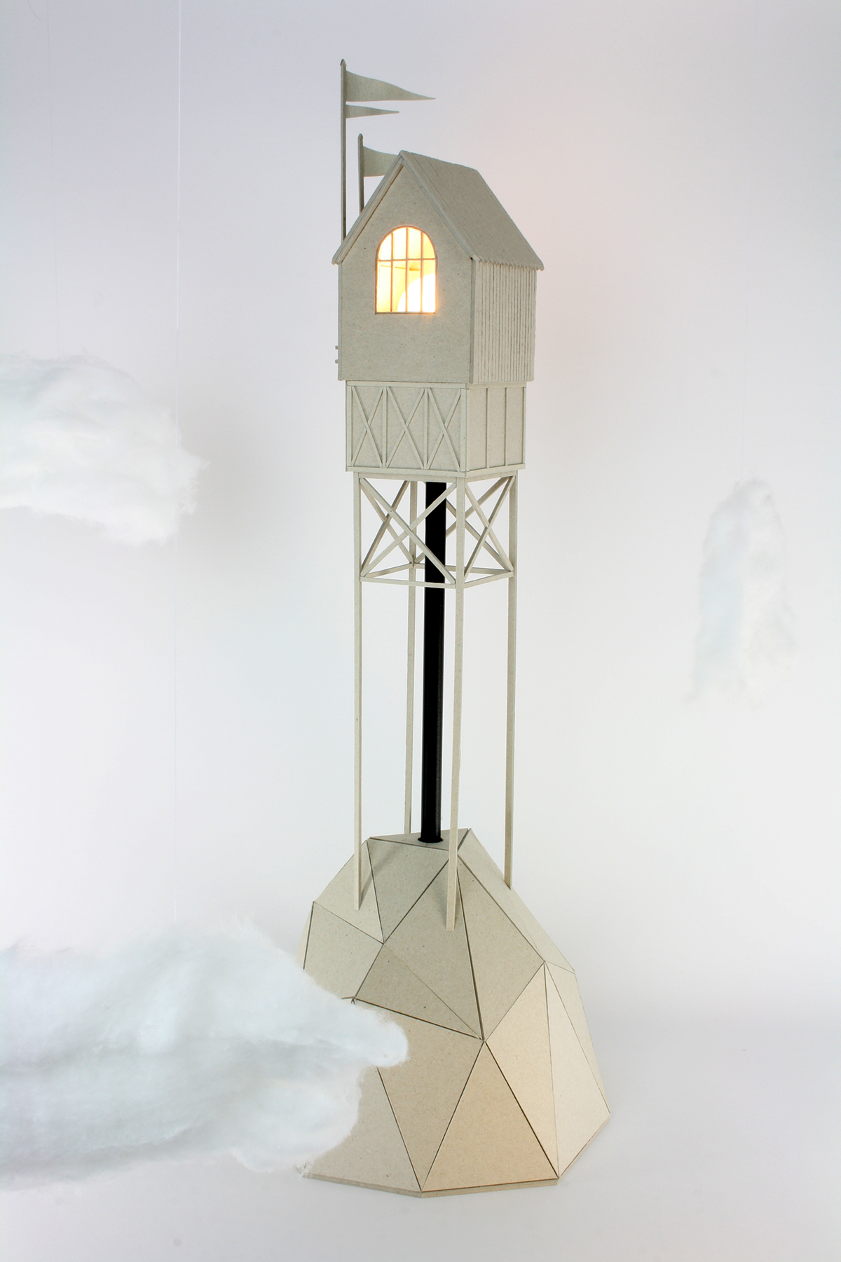 cardboard lamps model Miniature mountain house Island floating lowpoly Low Poly fantasy