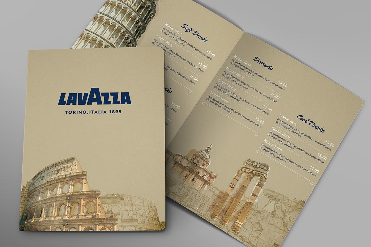 Menu Card Lavazza brochure template card menu vintage Style concept handmade