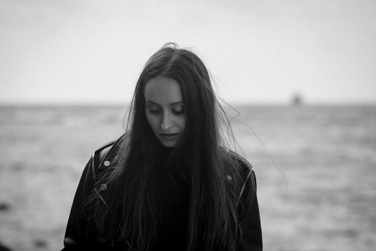 black white dramatic Fashion  portrait sea