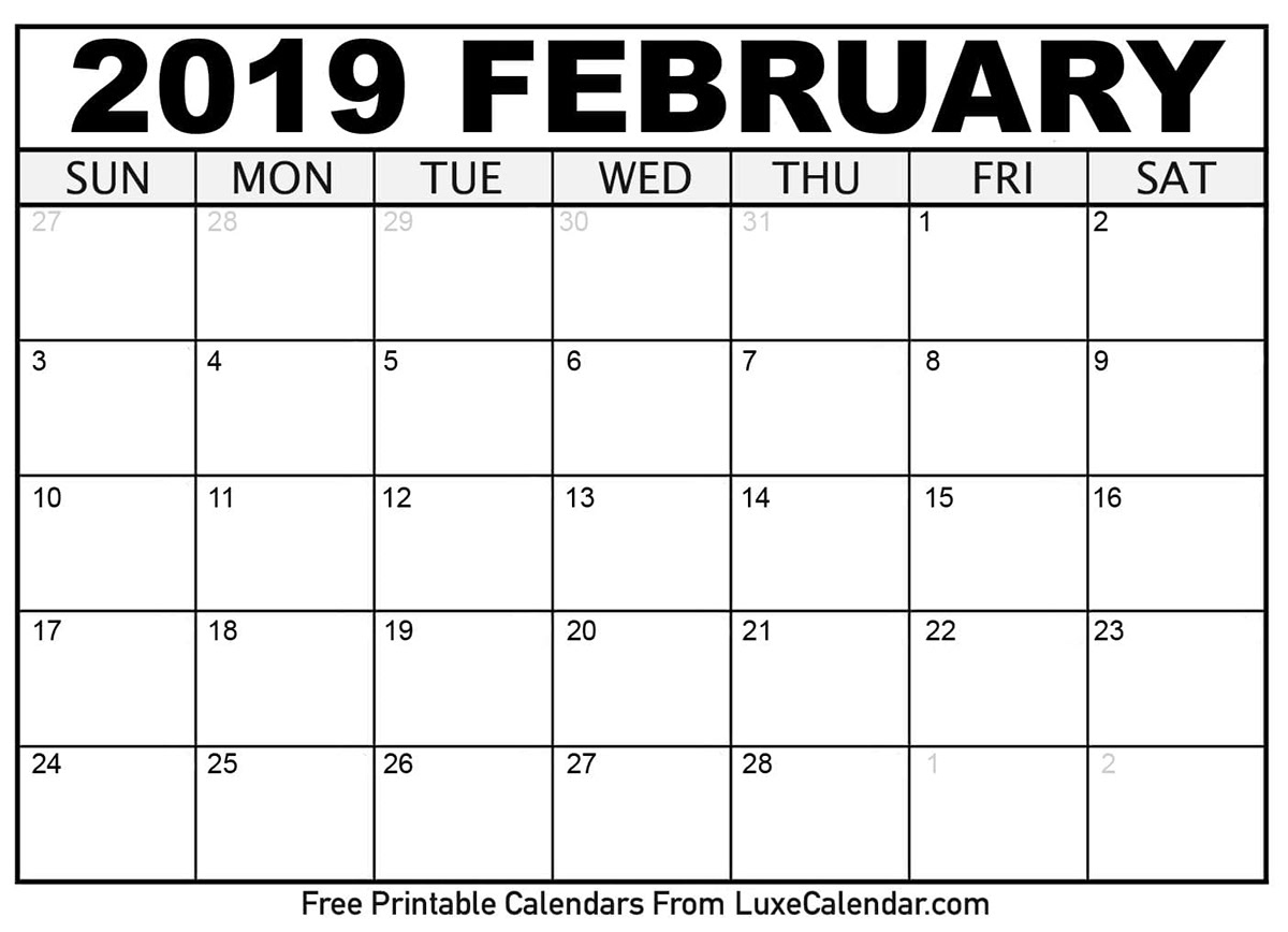 Luscious image pertaining to printable february calander