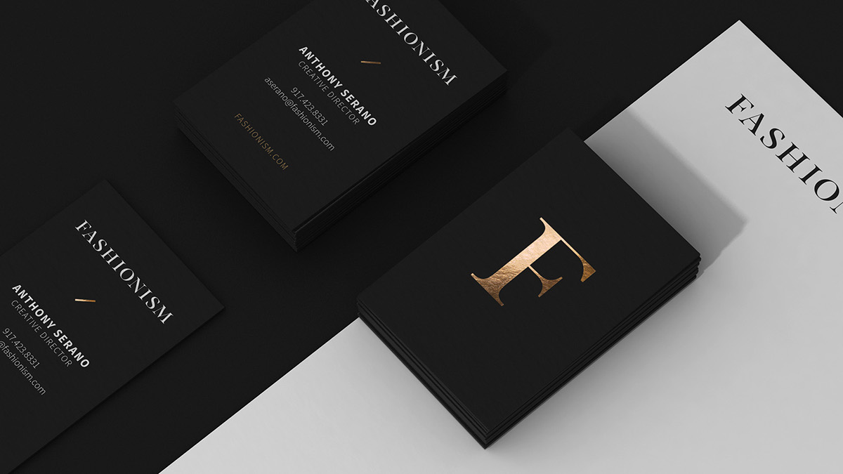 Fashionism brand identity on sva portfolios most sophisticated of colors charcoal black was our star shade we made it the backdrop for all of the new stationery items business cards envelopes magicingreecefo Choice Image